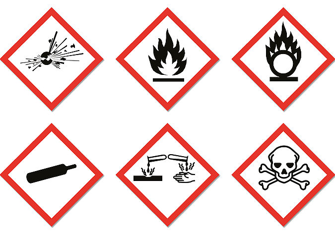 Danger symbols for classifying and labelling chemicals