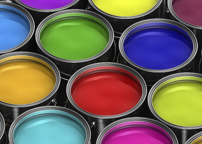 Pails with various interior paints